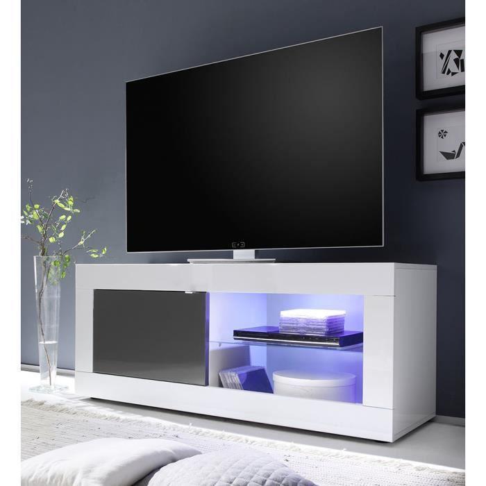 MEUBLE TV Meuble TV blanc et gris laqué design FELINO 3 L 18