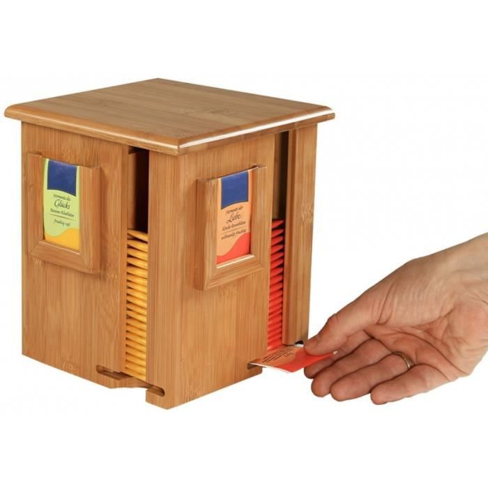 Distributeur et Pr/ésentoir de sachets /à th/é sur support rotatif En bambou 2 en 1