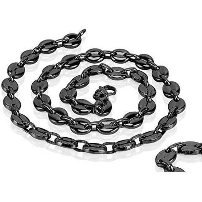 AURSTORE/® Cha/îne colliers pour homme acier inoxydable maille grain de caf/é longueur 56 cm