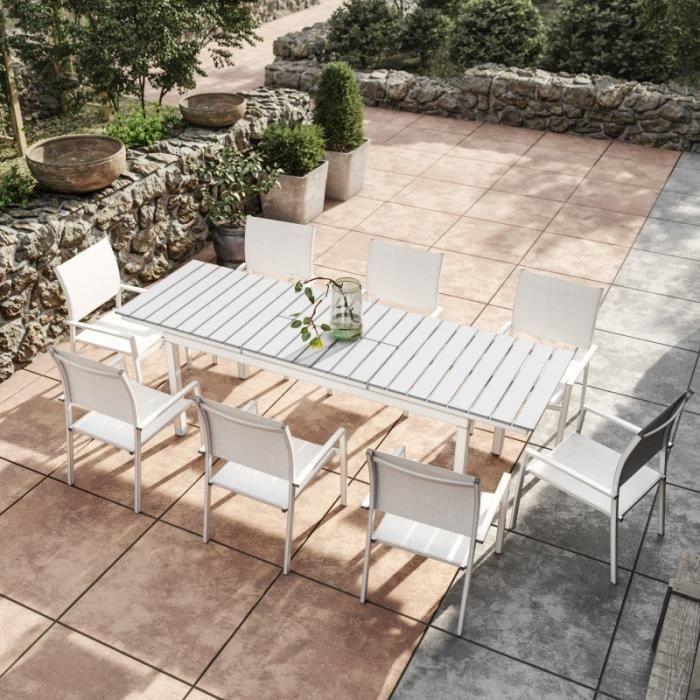 Table de jardin extensible aluminium blanc gris 180-240cm + ...