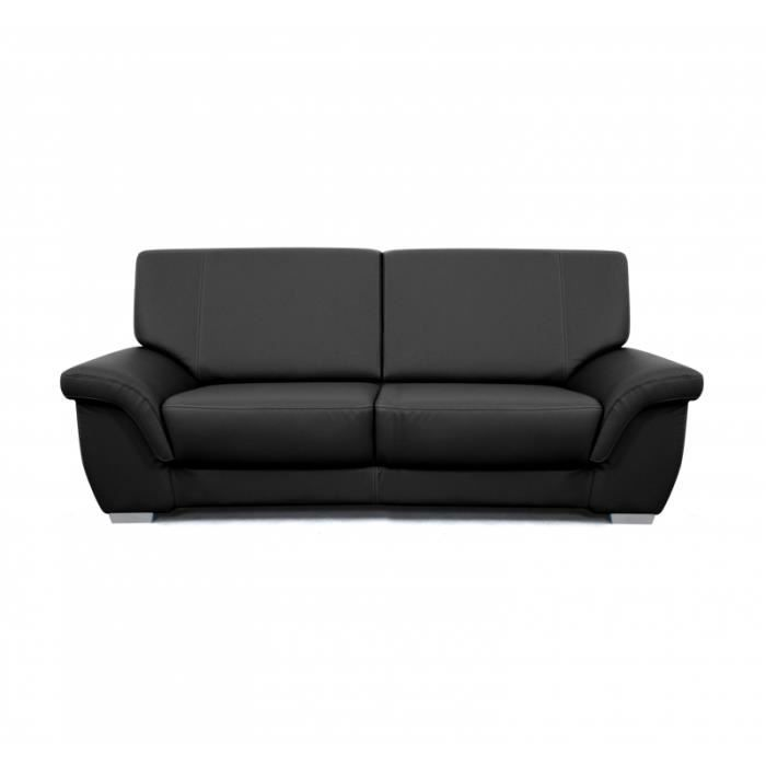 Canap watson 2 places noir achat vente canap sofa for Canape 2 places noir
