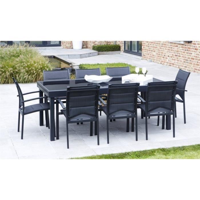 Ensemble table et chaise de jardin SALON DE JARDIN 8 FAUTEUILS MODULO NOIR EN ALUMINI