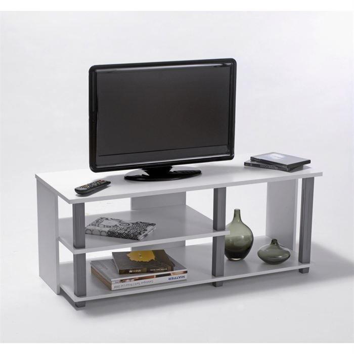 initial meuble tv 100 cm blanc gris achat vente meuble. Black Bedroom Furniture Sets. Home Design Ideas
