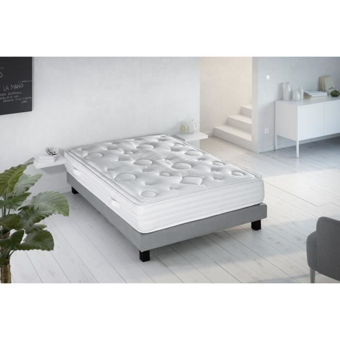 ensemble sommier matelas 140x190 ressorts equilibr 912 ressorts 2 personnes visco. Black Bedroom Furniture Sets. Home Design Ideas