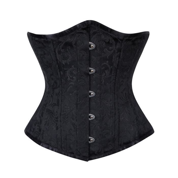 SUPPORT TAILLE - COUPE  Serre taille corset noir à motif floral élégant go