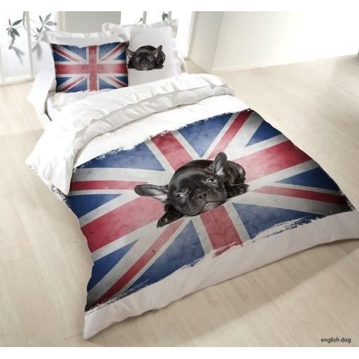 housse de couette 220x240 english dog 2 taies achat. Black Bedroom Furniture Sets. Home Design Ideas