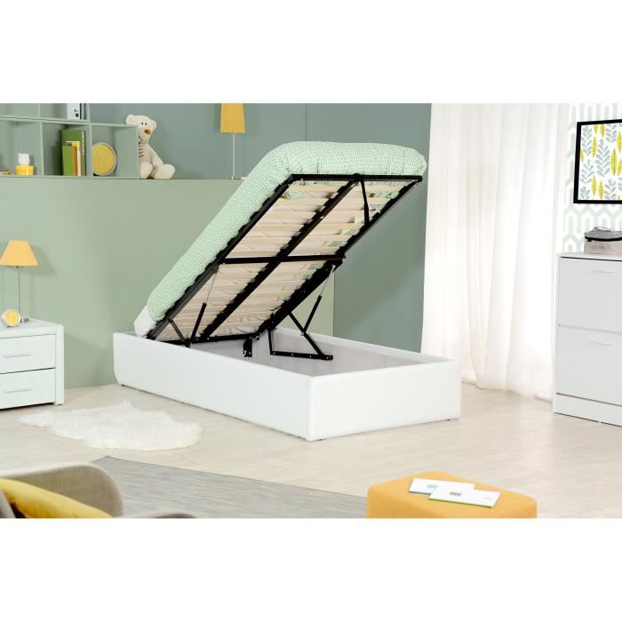 majesty lit coffre enfant 90x190 sommier blanc achat vente structure de. Black Bedroom Furniture Sets. Home Design Ideas