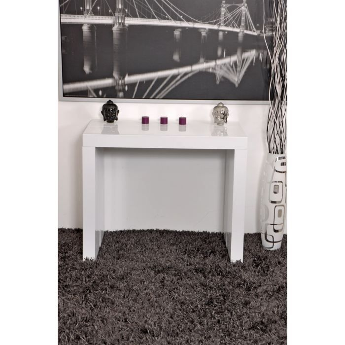 max console extensible 90 225x90cm blanc laqu achat. Black Bedroom Furniture Sets. Home Design Ideas