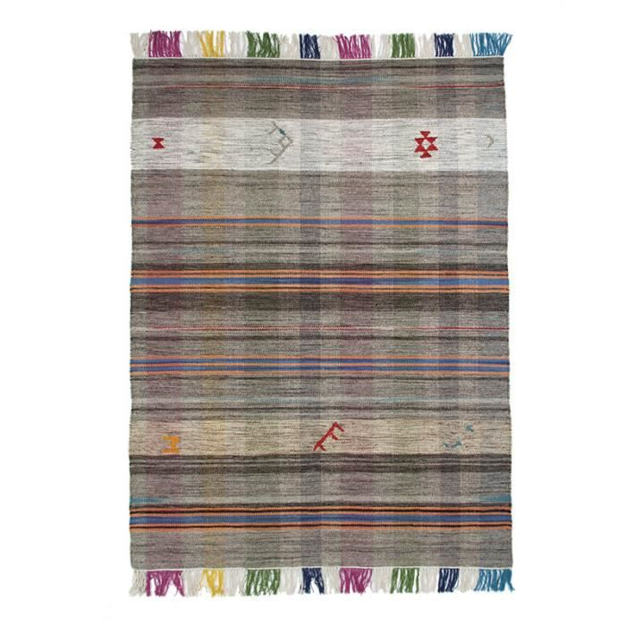 tribal vintage kilim tapis laine xxl 200x300 cm gris 18349 achat vente tapis les soldes. Black Bedroom Furniture Sets. Home Design Ideas