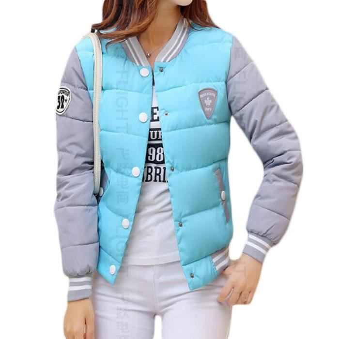 femme epaissir doudoune manteau courte baseball parka veste manches longue bleu bleu achat. Black Bedroom Furniture Sets. Home Design Ideas
