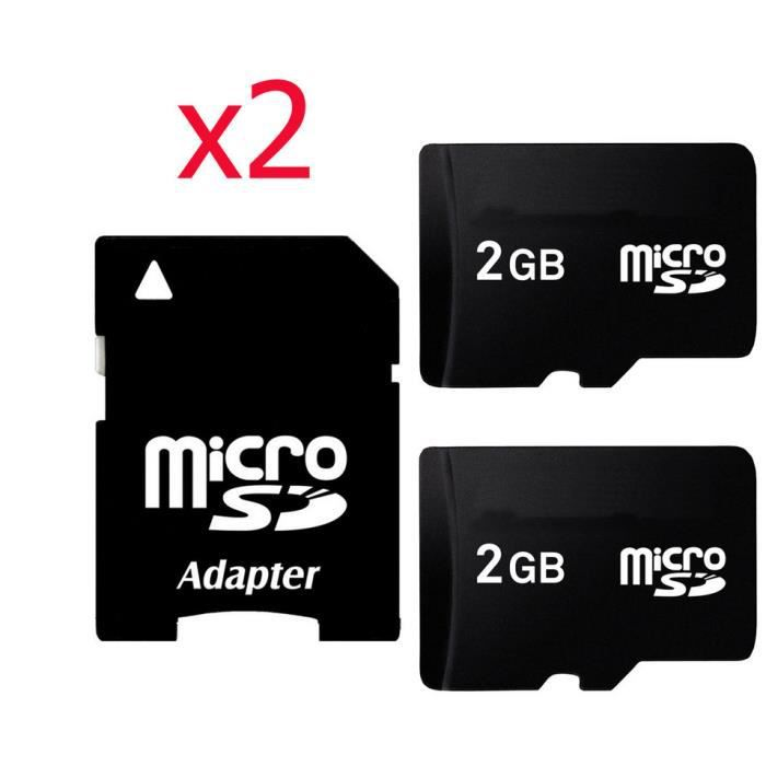 2x 2go carte m moire micro sd avec adaptateur achat vente carte m moire cdiscount. Black Bedroom Furniture Sets. Home Design Ideas
