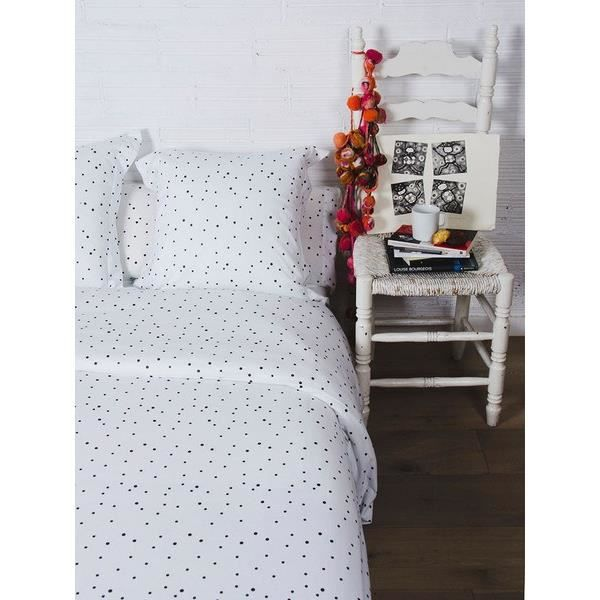 sisomdos housse de couette dots 240x220 cm noir et blanc achat vente housse de couette. Black Bedroom Furniture Sets. Home Design Ideas