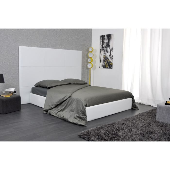 skin lit 160x2000 pu blanc avec grande t te de lit achat vente structure de lit skin lit. Black Bedroom Furniture Sets. Home Design Ideas