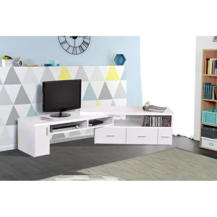 slide meuble tv extensible blanc achat vente meuble tv slide meuble tv extensible bl. Black Bedroom Furniture Sets. Home Design Ideas
