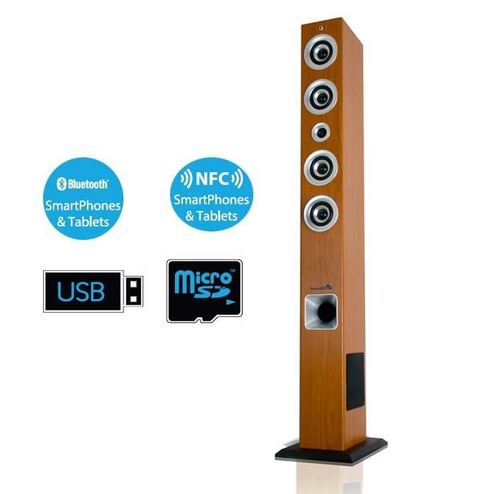 soundtower100 enceinte bluetooth tour bois 120w. Black Bedroom Furniture Sets. Home Design Ideas