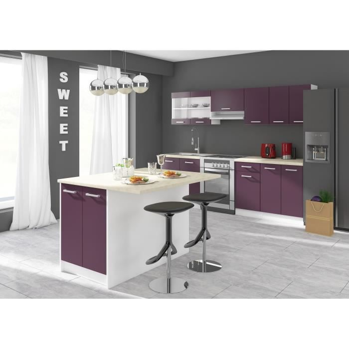 ultra ilot de cuisine l 100cm avec plan de travail inclus aubergine mat achat vente ilot. Black Bedroom Furniture Sets. Home Design Ideas