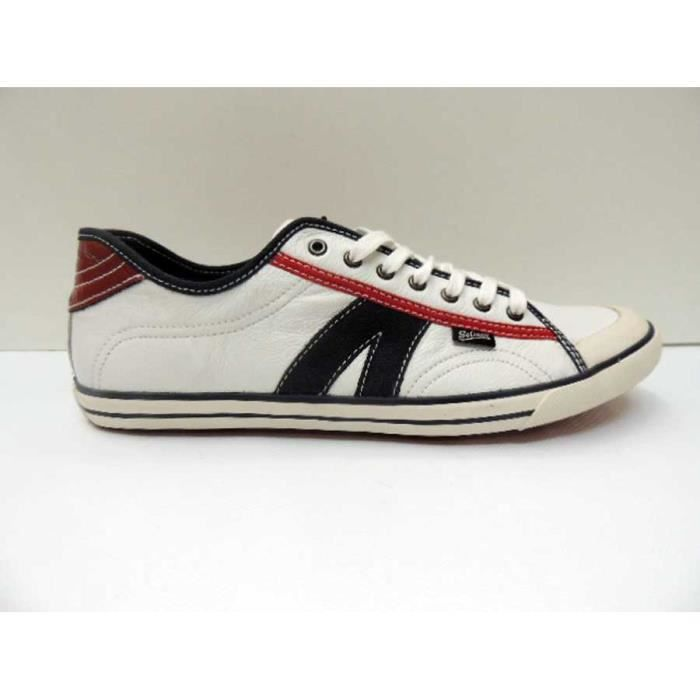 Chaussure Baskets Basse Cuir Goliath Gullyl White Navy Dk Red Homme Pointure 44