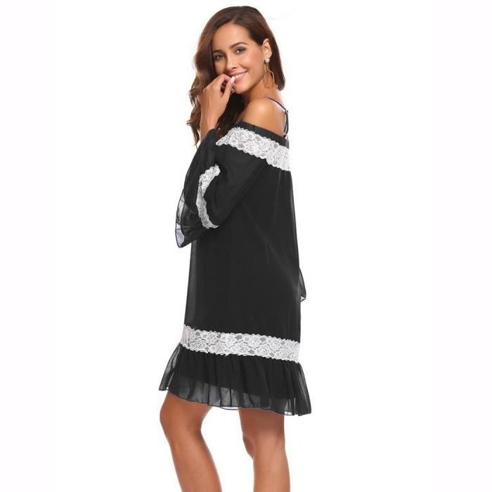 Femmes Casual Slash Neck Off The Shoulder Flare Sleeve Lace Patchwork Sexy Dress