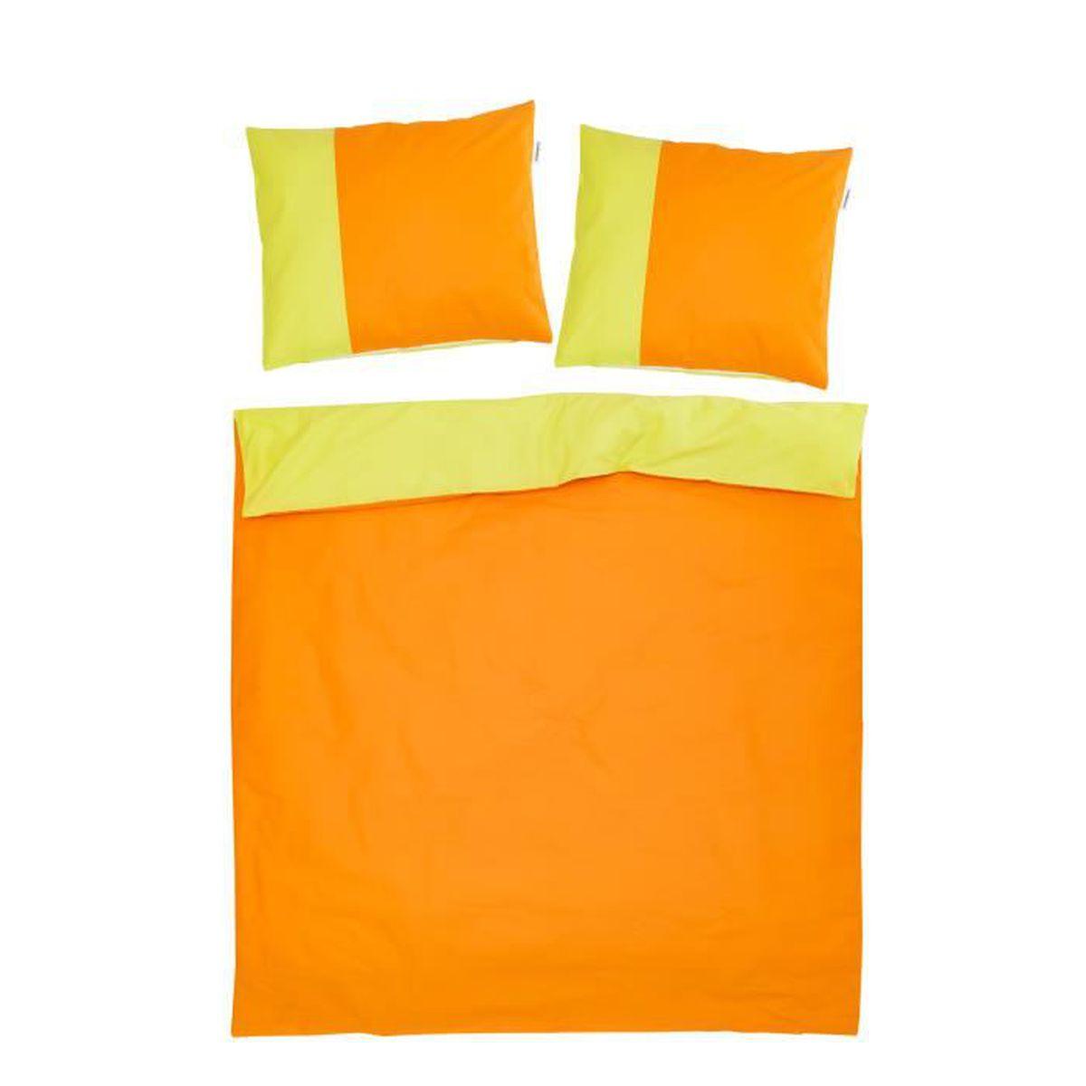 HOUSSE DE COUETTE SEULE Orange & Vert - SoulBedroom 100% Coton Parure de l