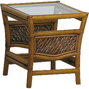 TABLE D'APPOINT Table d'appoint en rotin et verre Marron