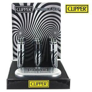 Black Psychedelic Argent CLIPPER Briquet Clipper M/étal avec Etui