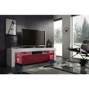 MEUBLE TV Meuble tv 160 cm  blanc mat  et bordeaux  laqué  a