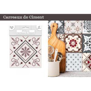 STICKERS Lot de 6 Stickers Carreaux de Ciment – Rose Motif