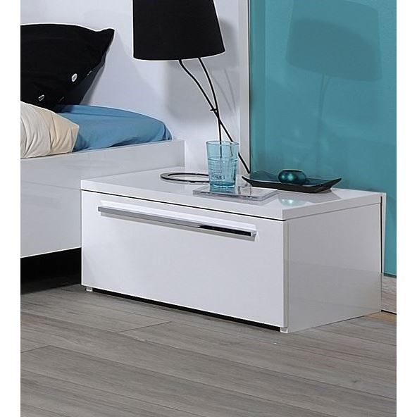 first chevet 1 tiroir laqu blanc achat vente chevet. Black Bedroom Furniture Sets. Home Design Ideas