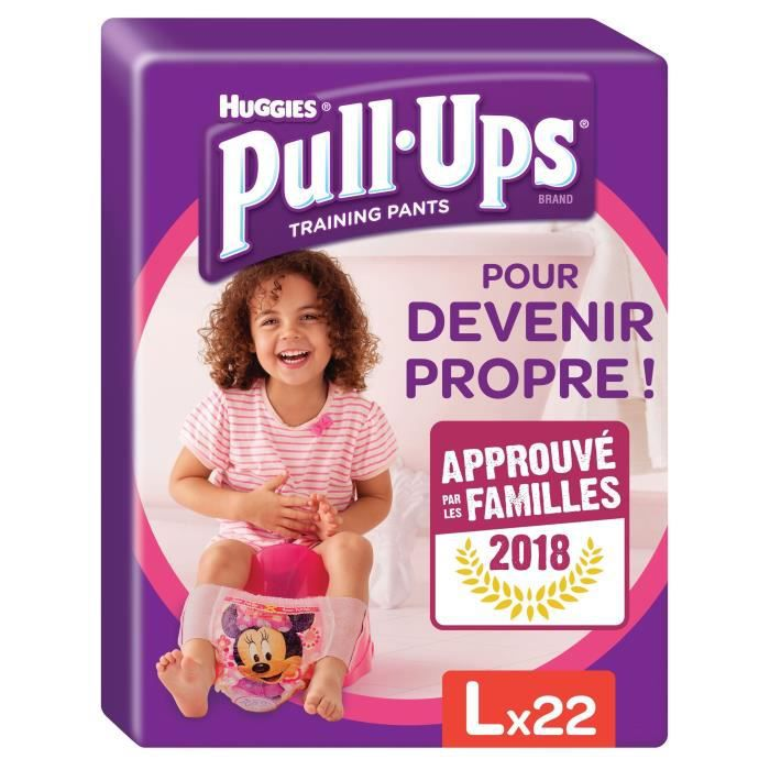 HUGGIES Pull Ups Economy Fille Taille 6 L - De 16 à 23 kg - 22 couches