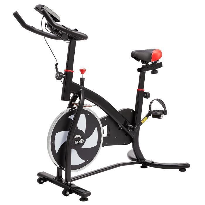 6kg Vélo d'Appartement Tour Équipement de Sport- Machine d'Entraînement- Siège et Poignée Réglables- Moniteur de Fréquence Cardiaque