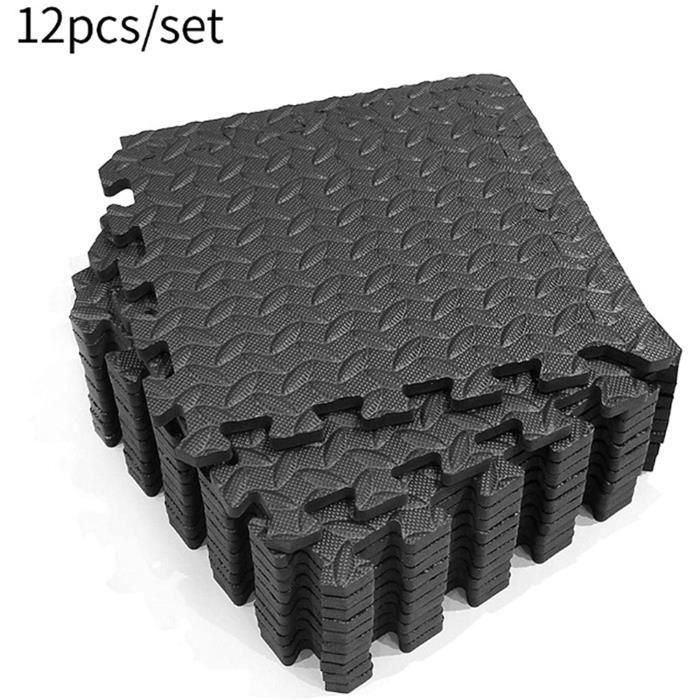 Lot de 12 Dalles de protection de sol en mousse Noir 63 X 63 cm ép 1.2 cm ( Tapis de sol, Sport, Gymnastique, Yoga )