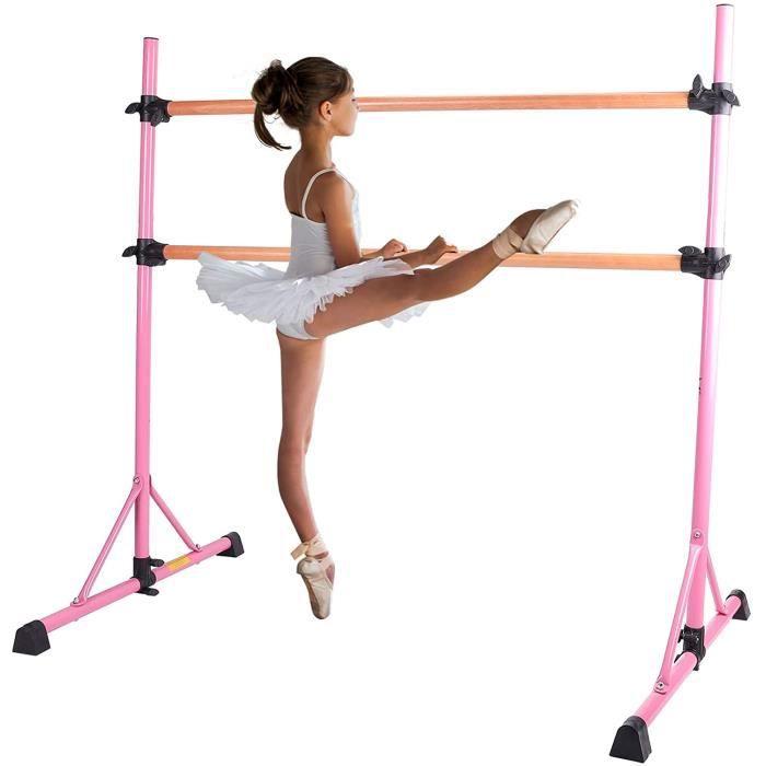 Double Barre de Danse Classique pour Stretching Portable et Autoportante Amovible Hauteur Réglable Charge Maximal 150KG Enfant Adult