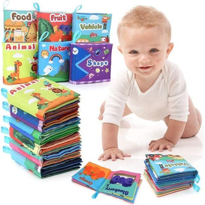Jouet Educatif d'éveil bébé, 6 PCS Livre Tissu Jouets Pour Bebe 0 3 6 12 Mois,Cadeau Anniversaire