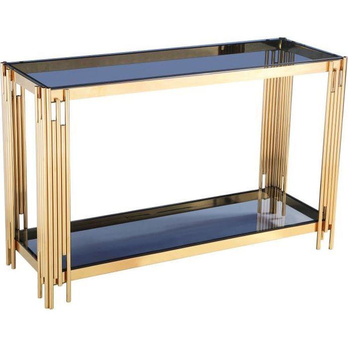 Console design en acier doré avec plateau en verre noir collection MILANO L. 120 x P. 40 x H. 78 cm Gris, Or