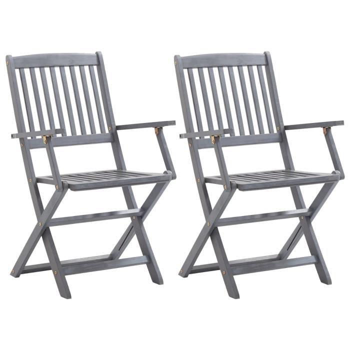 BINGO - 2 pcs Chaises de jardin pliables Bois d'acacia solide - Chaise d'extérieur ,Chaise de terrasse ,Fauteuil de balcon-7355