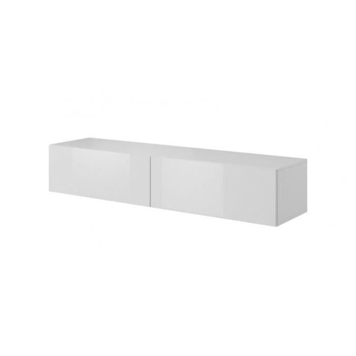 TV stands-Commode TV en MDF et pâle, avec 2 portes Livo RTV-160W Blanc, l160xA40xH30 cm