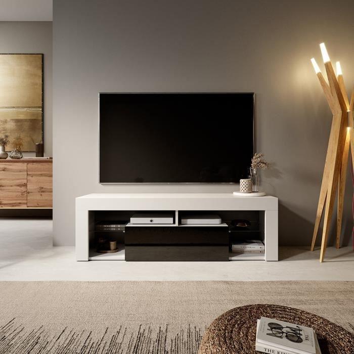 Meuble TV / Banc TV - BIANKO - 140 cm - blanc mat / noir brillant - sans LED - style moderne - tablette en verre