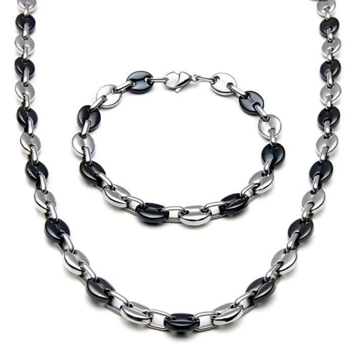 Collier+bracelet grains de café noir acier be2744