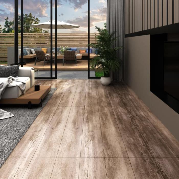 5,26 m2 - 18 pcs Lame de sol PVC 2 mm - Revêtements de sol Contemporain Tapis d'intérieur Autoadhésif - Délavage de bois - 122,8 x