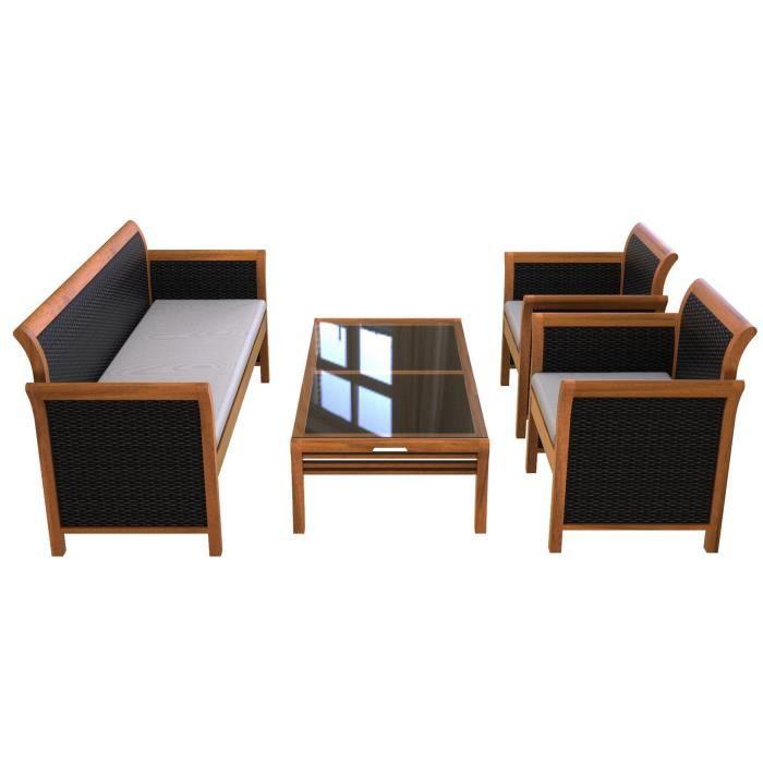 Ensemble de 4 meubles de terrasse en bois véritable de Tongsai Bay (table basse + 1 canapé + 2 fauteuils)