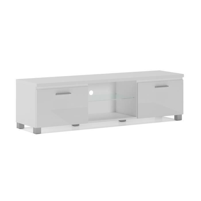 Meuble bas TV LED, Salon-Séjour, Blanc Mate et Blanc Laqué, Dimensions: 150 x 40 x 42 cm de profondeur.