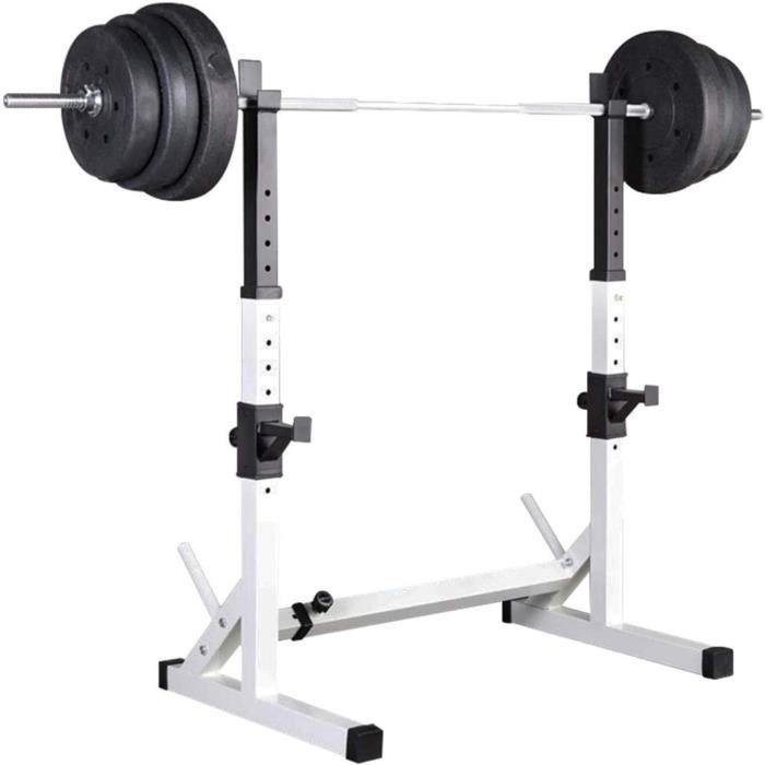 BANC DE MUSCULATION Rack Squat Multifonctionnel Rack Musculation R&eacuteglable Cage A Squat Support R&eacuteglable en Haute578