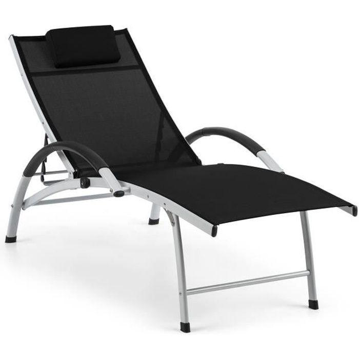Blumfeldt Sun Valley Chaise longue de jardin - Transat pliant avec coussin extra-doux - dossier réglable 50-87 cm - aluminium noir