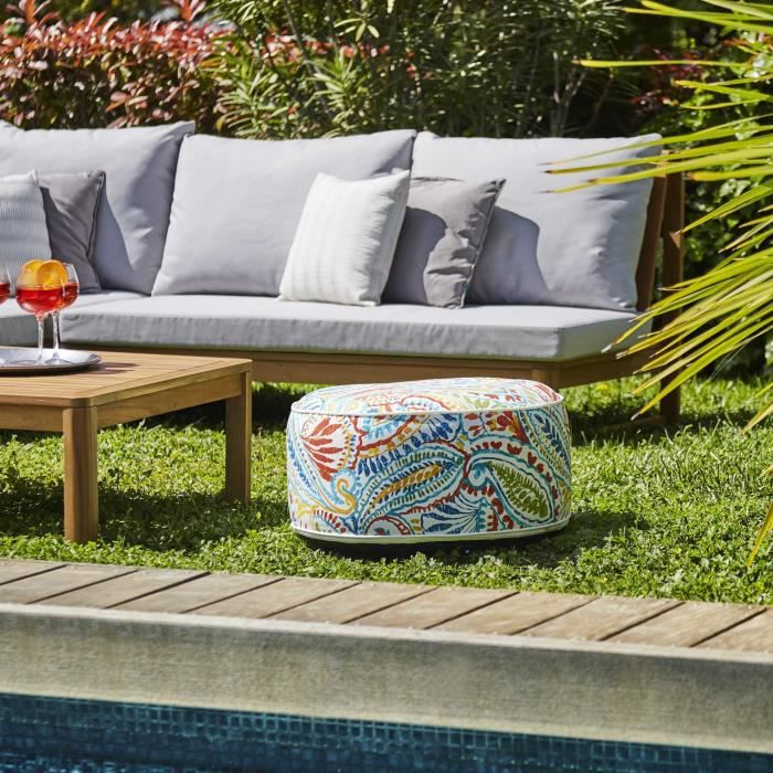 Pouf gonflable jardin Bocarnea - Assise 53 cm - Revêtement spun polyester 200 mg - Motif tropical mu