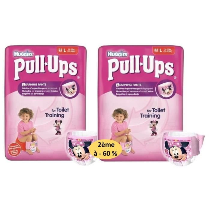 HUGGIES Lot de 2 Packs de 44 Pull Ups Economy Fille Taille 6 L 16-23 kg