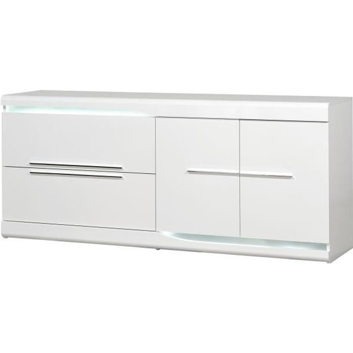 OVIO Bahut 2 portes 2 tiroirs - Laqué blanc brillant - L 200 x P 51 x H 87 cm