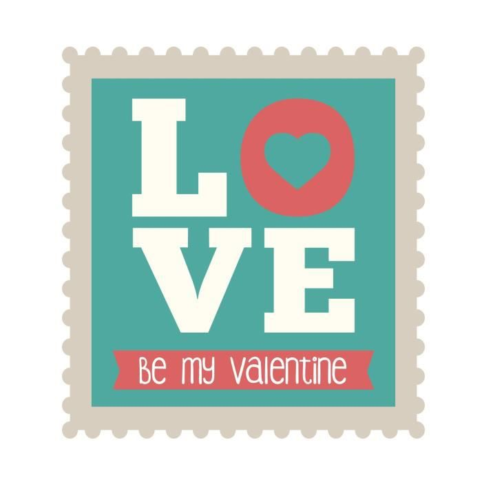 Stickers adhésif mural Love Stamp - be my valentine - 30x33cm