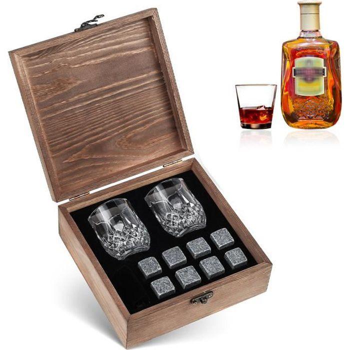 8pcs Ensemble de pierres de refroidissement de whisky 2 verres boîte en bois réutilisables pour whisky vin bière boissons fraîches