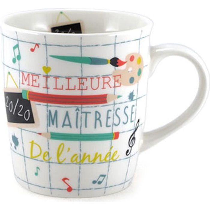 Mug porcelaine 'Maîtresse' (Meilleure Maîtresse de l'année 20-20) - 10x8.5 cm [A0210]