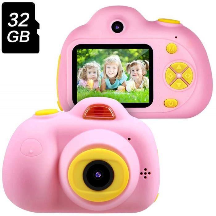 Letouch 2019 Appareil Photo Numérique Enfant Rose, Jouet Cadeau Fille 3-10 Ans, 8MP 1080P Appareil Photo Selfie avec 32Go SD